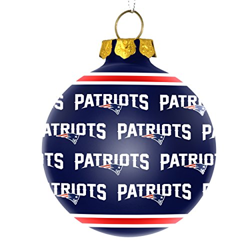 NFL New England Patriots REPEAT Print Glass Ball Ornament