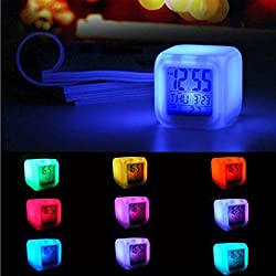 Siviki Digital Alarm Thermometer Night Glowing Cube 7 Colors Clock LED Change LCD (White)
