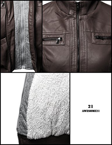 Faux Leather Bomber Jacket Fur lining with Various Colors Brown Size L