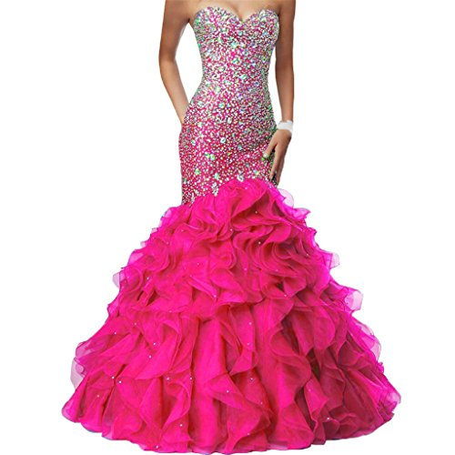 Crystals Long Mermaid Ruffles Beaded Sweetheart Corset Formal Prom Evening Dresses Fuchsia US 18W