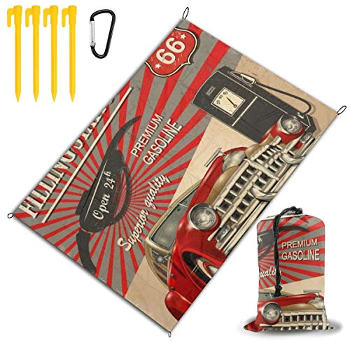 LHLX HOME Retro Car Vintage Route 66 Picnic Blanket Handy Beach Mats with Waterproof Backing Anti Sand for Picnics, Beaches, Camping and Outings 78x57