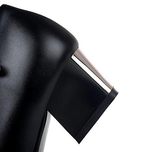 AllhqFashion Mujer Pu Sólido Puntera Cerrada Puntera Redonda Tacón Medio De salón Negro