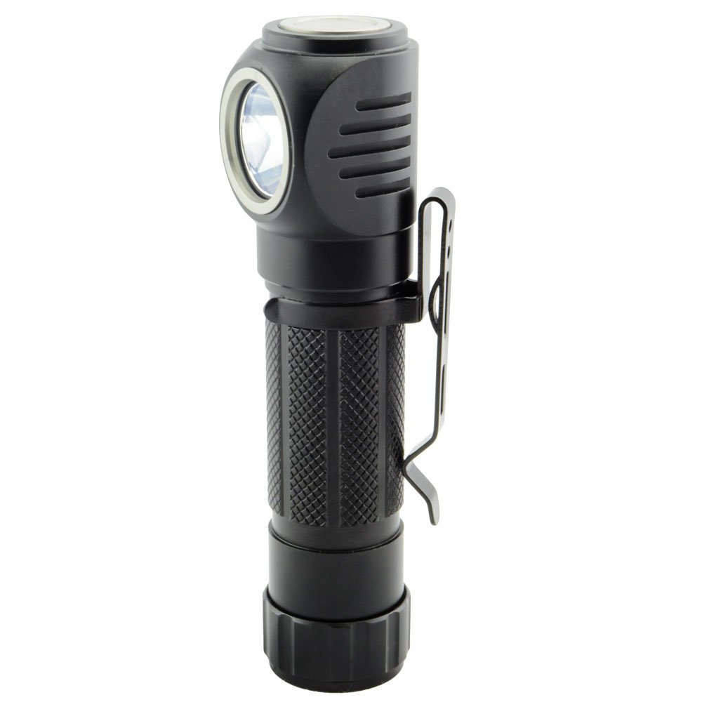 Right Angle Head Flashlight 1050 Lumen MOLLE Pocket Clip Magnetic Tailcap Headlamp Strap (Batteries not included)