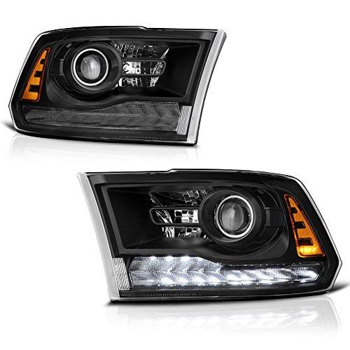 Passenger Side Projector ([Exclusive Rebel Black Edition] VIPMotoZ 2013-2017 Dodge RAM 1500 2500 3500 Projector Headlights - Matte Black Housing & Trims, Driver & Passenger Side)