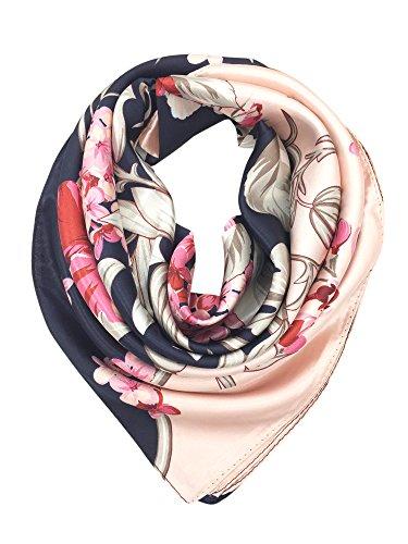 YOUR SMILE Silk Feeling Scarf Women's Fashion Pattern Pink Black Flower Large Square Satin Headscarf (307) ()