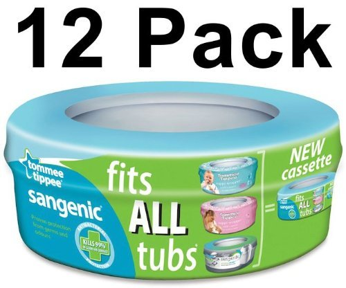 12 X Tommee Tippee Sangenic Nappy Disposal System Refills Bags Cassettes Pack Best Quality Fast Shipping Ship Worldwide by Tommee