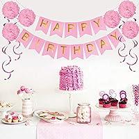 KUUBIA Kit Decoración Fiesta Cumpleaños Niña - Pancarta Happy ...