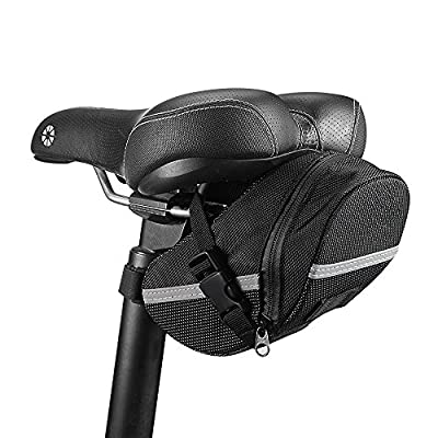 InaRock Bike Saddle Bags - Bicycle Seat Pack Bag, Strap-on Bag, Capacious, Rainproof, Easy Installation, Taillight Compatible To Carry All Your Important Biking Accessories For Cycling Or Work (Black)