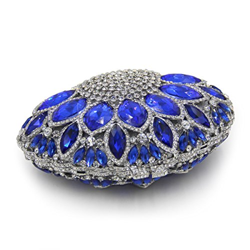 Flada mujer piedras preciosas bolso rhinestones sector forma de boda noche embrague monedero champán Royal Blue