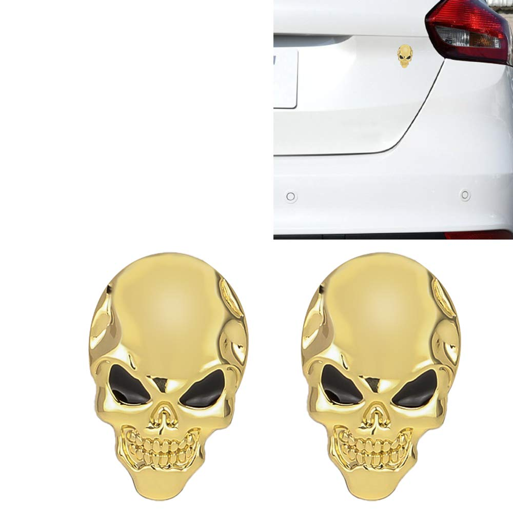 Senzeal 2pcs 3D Metal Skull Car Emblem Sticker Badge Motorcycle Truck Emblems Badge Decals Logo Car Decoration Accessories Black and Red