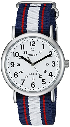 Red Stripes Watch - Timex Unisex TW2P68500 Weekender Blue/Red/White Stripe Nylon Slip-Thru Strap Watch