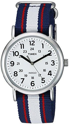 Timex Unisex TW2P68500 Weekender Blue/Red/White Stripe Nylon Slip-Thru Strap Watch