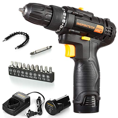 Cordless Drill Driver Kit with 2 Lithium Ion Batteries and Charger,12V Electric ScrewDriver,Variable Speed 3/8Inch…