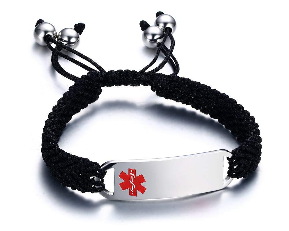 Customised Personalised Engraving Medical Alert Bracelet Rainbow Braided Bracele