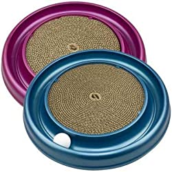The Turbo Scratcher Cat Toy includes a spinning ball, non-skid feet and scratch pad. Catnip included. The scratch pad keeps cats entertained so they don't chew or tear furniture. Replacement pads also available.