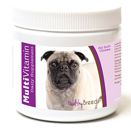 Healthy Breeds Multivitamin for Dogs Chewable for Pug, White- Over 200 Breeds - for Small Medium & Large Breeds - Easier Than Liquid or Powders - 60 Chews