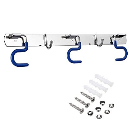 Sumnacon Mop Broom Holder Organizer, 3 Positions Holder With 2 Hooks Wall  Mounted Cleaning Tools
