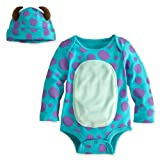 Disney Store Sulley Onesie Costume Bodysuit Size 6-12 Months with Horned Hat