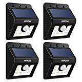 LED Solar Motion Sensor Lights, Mpow 3-in-1 Waterproof Solar Energy Powered Security Light Outdoor Bright Light Lamp with 3 Intelligient Modes 8 Bright Nodes for Garden, Outdoor, Fence, Patio, Deck, Yard, Home, Driveway, Garage, Stairs, Outside Wall etc(4 Units)
