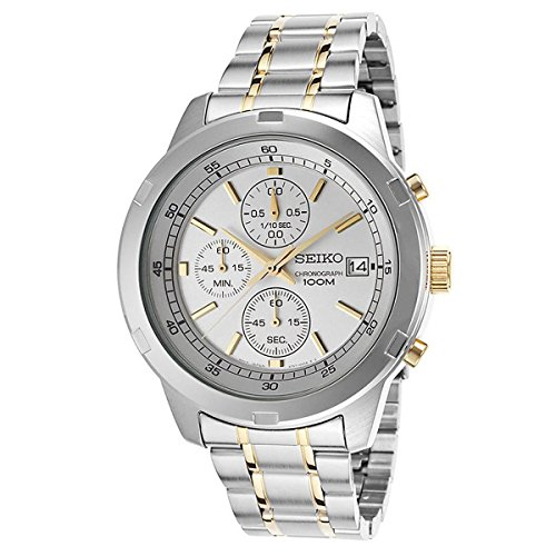 Seiko Chronograph Silver Dial Two-tone Mens Watch (Two Tone Chronograph Silver Dial)