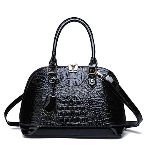 Crocodile Handbag Tote Pattern (Yan Show Women's Patent Leather Totes Elegant Handbag Crocodile Pattern Top Handle Purse Shell Bag (Black))