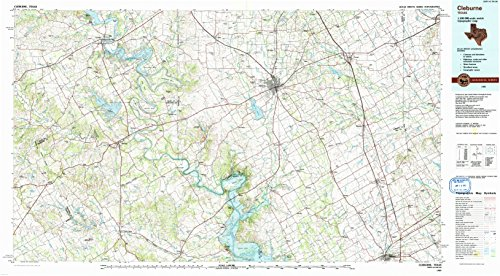 Cleburne TX topo map, 1:100000 scale, 30 X 60 Minute, Historical, 1985, updated 1991, 24 x 43.5 IN - - Map Hillsboro Tx