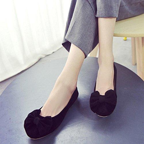 Pregnent mode Chaussures ® plat Transer étudiant pour loisirs Noir Bowknot femmes travail de zqFTawY