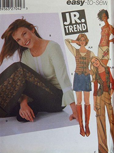 - Simplicity 5355 Pattern Jr. Trend Pants, Skirt, Vest and Knit Top Sz BB (11/12-15/16)