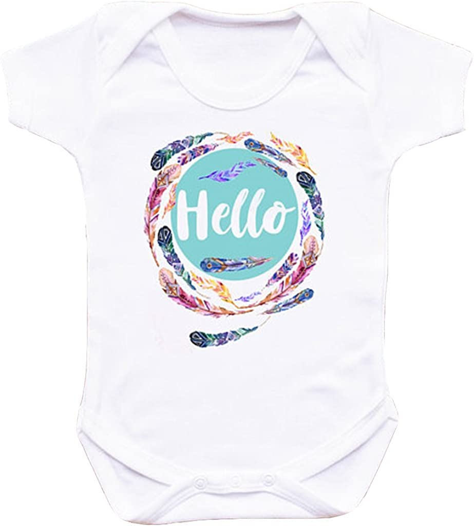 Hello Feather Baby Bodysuit Coming Home Outfit Baby Girl Gift Girls Coming Home Outfit Boho Feather Outfit