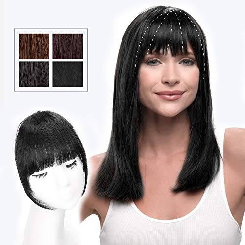 HMD Clip in Bangs 100% Human Hair Extensions Natural Black Clip on Fringe Bangs with nice net Natural Flat neat Bangs with Temples for Women One Piece Hairpiece for Daily Wear (Color:Natural Black)