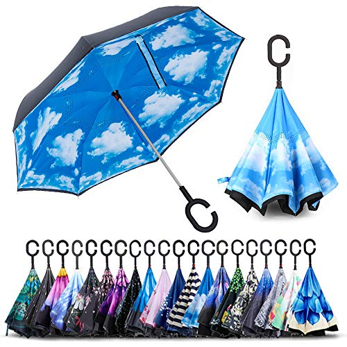 - ZOMAKE Double Layer Inverted Umbrella Cars Reverse Umbrella, UV Protection Windproof Large Straight Umbrella for Car Rain Outdoor With C-Shaped Handle