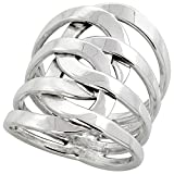 Sterling Silver Wire Wrap Interlocking Loops Ring Bypass Handmade 1 inch long, sizes 6 - 10