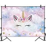 Funnytree 7X5FT Unicorn Birthday Party Backdrop Watercolor Flowers Pink Gold Horn Girl Baby Shower Decorations Glitter Star Meteor Kids Photography Background Cake Table Banner Photobooth Props