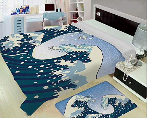 Heating and Thickening High-Grade Blankets,Japanese Wave,Far Eastern Painting Oceanic Storm Theme Tsunami Wind Water Artwork,Teal Blue White,One Side Printing,Excess Value ()