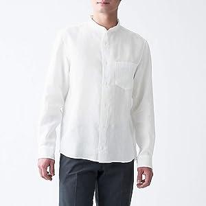 無印良品 フレンチリネン洗いざらしスタンドカラーシャツ