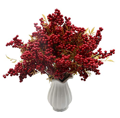 Furnily Artificial Flowers Berries Fake Flowers Home Decoration Artificial Berries(10Pcs,Red) ()