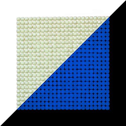 Illumino Lacrimae Lucis Ivory/Ocean Blue Glow-in-The-Dark Glass Tile / 1 Sheet 12.2