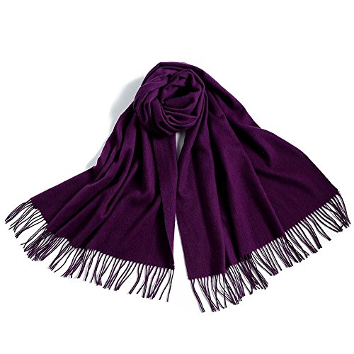 Fineplus Women's New Arrival Thicken Pashmina Wool Scarf Shawls Stole Purple
