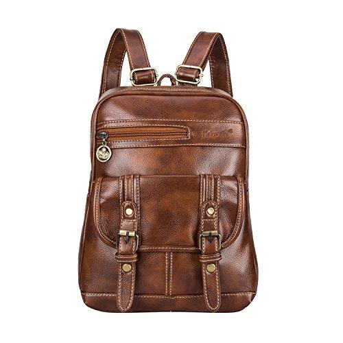 (Leather Backpack for Women SNUG STAR Vintage School Bag Students Book Bag Satchel Purse(Brown))