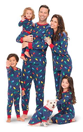 Tangled Outfit (PajamaGram Christmas Lights Matching Family Pajama Set, Blue, Dog MED)