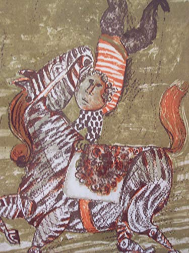 (The Acrobat, Original Lithograph by Graciela Rodo-Boulanger, Framed Artwork Painting Decoration, Boy Doing a Hand-Stand on a Zebra (Equestrian Acrobat), Numbered Signed )