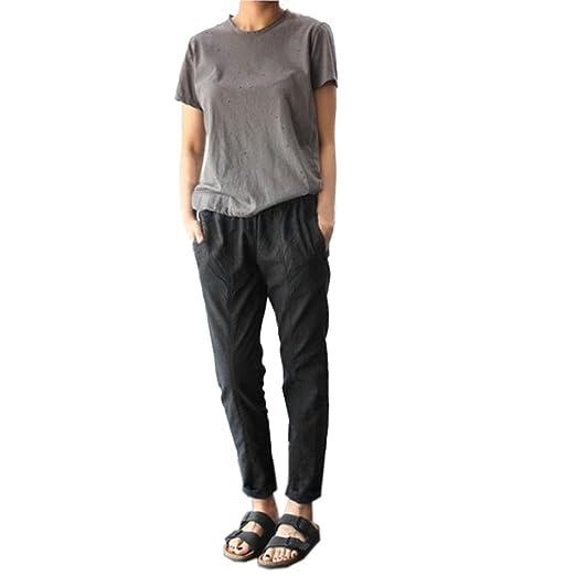 949c45bcef3 Amazon.com  2018 Plus Size Casual Women Cotton Linen Pants Elastic ...