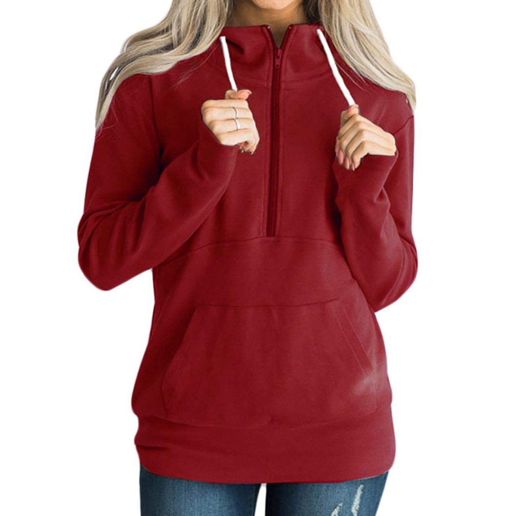 Clearance Women Casual Solid Zipper Long Sleeve Sweatshirt Plus Size,Round Neck Jumper Pullover T Shirt Blouse (Wine, US:14)