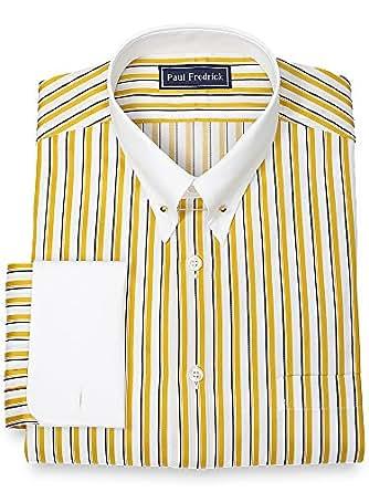 Paul fredrick men 39 s 2 ply cotton eyelet collar french cuff for Mens eyelet collar dress shirts