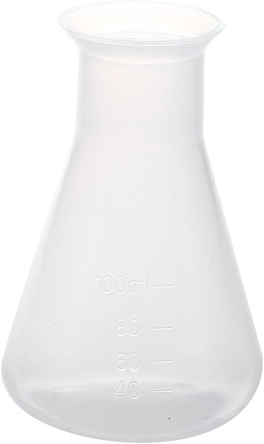 SODIAL(R) 100ml Claro Blanco Frasco conico quimico de laboratorio de plastico Botella de almacenamiento