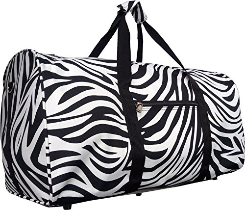 22 Inch Carry On Duffel Bag | Gym or Dance Bag by Unique Traveler (Zebra Print-Black Trim) Review