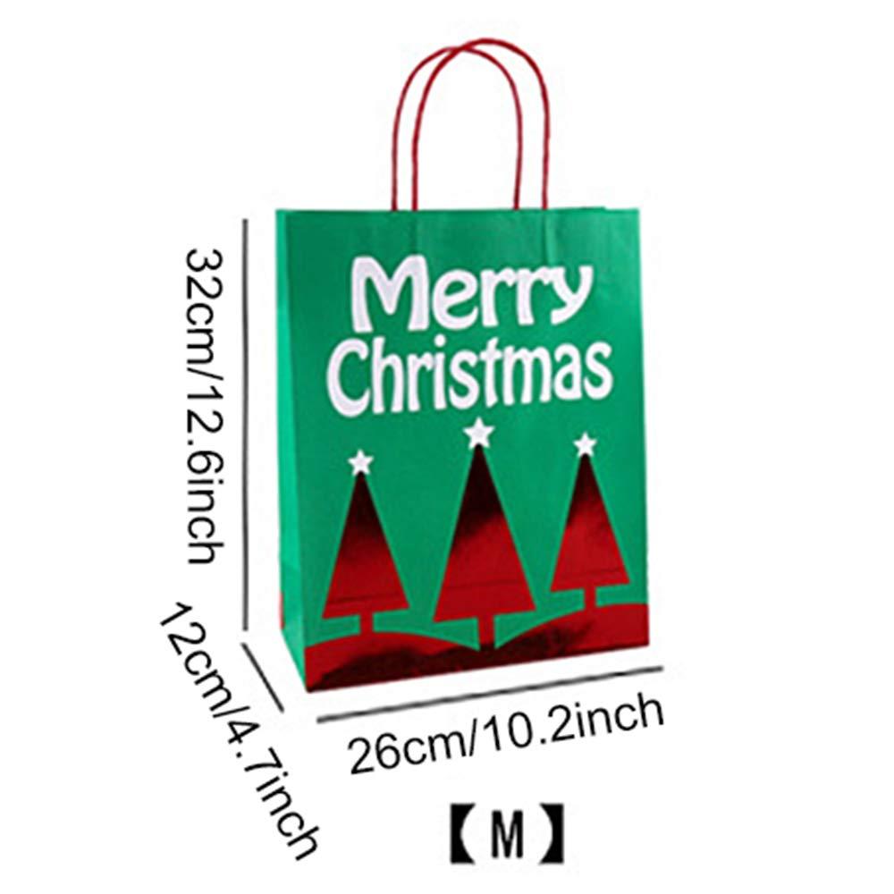 small FineInno 12 Pack Sacchetti Natale Christmas Gift Bag Borse Regalo di Kraft Carta Cute Tote Xmas Tasche 4 Stili,3 Diverse Dimensioni,Adatto a Feste Scolastiche