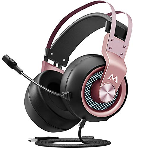 Mpow EG3 Stereo Gaming Headset, 7.1 Surround Sound Audio, Noise Cancelling Over Ear Headphones with Mic, Soft Memory Earmuffs, LED Light, Lightweight USB Headset with Volume/Mic Control for PC, PS4 Mpow