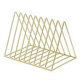 XSHION Bookshelf Triangle Simple Iron Art Desktop Storage Rack Magazine Organizer Book Holder (Golden)
