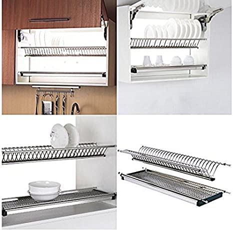 Amazon Com Stainless Steel Dish Racks For Inner Kitchen Cabinet 34 Kitchen Dining